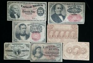 Fractional Currency Lot (7) Notes