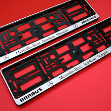 2 x SILVER AMG BRABUS NUMBER PLATE SURROUNDS HOLDER FRAME FOR MERCEDES-BENZ  CAR