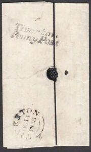 "DEVON 1838 LGE PT WRAPPER + ""Tiverton/Penny Post"" H/S (RARITY F) TAUNTON CASTLE"