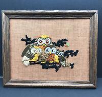 """Vintage Macrame Needlepoint Owl Yarn on Burlap 16"""" x 13"""" Finished Piece 1970s"""