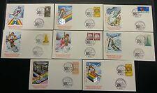 1978 - Campionati Mondiali di Sci - Serie completa di 8 Buste con annulli