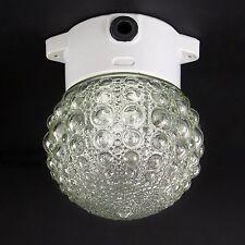 PORZELLAN SOCKEL LAMPE FABRIK BAUHAUS GLAS KUGEL BUBBLE WAND DECKE LEUCHTE ANTIK