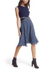 DIANE VON FURSTENBERG DVF 'Rosalie' Mixed Media Fit & Flare Dress Blue NWT Sz 8