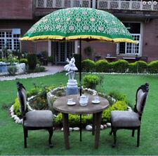 Green garden umbrella big sun protect patio parasol silk zari embroidered work