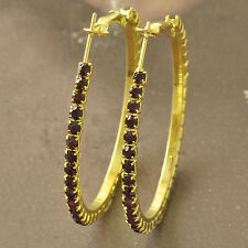 Around Purple CZ 9K Solid Gold Filled Womens HOOP EARRINGS F5150