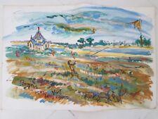 Peinture signée . Painting signed Marie-Pierre ESTEVE penvins cap de vent