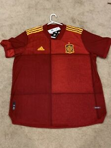 Mens XXL Spain National Adidas Authentic Home Soccer Jersey NWT $130