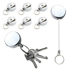 1/2/4/6X Stainless Silver Retractable Key Chain Recoil Keyring Heavy Duty Steel