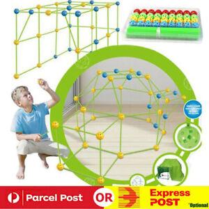 175pcs Kids Construction Fort Building Kit Castles 3D Play House Tent Toy Gift.