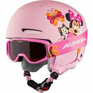 Alpina Children's Ski Helmet Zupo + Goggles Piney Set Disney Minnie Mouse Pink