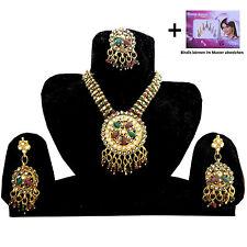 Set joyas Sunshine Bollywood rojo- verde dorado con bindis India joyería moda