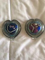hand blown art glass paperweight Heart Shape. 2 Pieces.