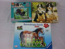 Lot of 3 JIGSAW PUZZLE Horseland Dogs 100 pc Ravensburger Horse 72 pc