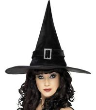 Halloween Fancy Dress Ladies Witch Hat with Buckle Black New by Smiffys