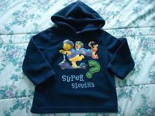 Child's size 24 M Navy Blue Disney Fleece Hoodie with Pooh & Tigger on a Scooter