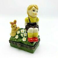 Small Hand Painted Porcelain Trinket Box w Hinged Lid, Little Boy & Bunny Figure