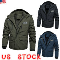 Mens Fur Lined Thermal Cargo Jacket Coat Military Casual Winter Bomber Jackets
