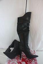 Boots Wild Rose Over Knee black Demetria04 NEW NIB Size 7