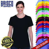 Brisco Heavy Cotton 5.4 oz Womens Semi Fitted Plain Color Blank T shirt Tee Top
