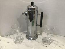 Vintage Art Deco Tall Chrome Cocktail Shaker Pitcher with Bakelite Handle, Knob