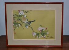 Chinese painting on silk 'Birds on a Cherry Branch' in Frame [PL2571]