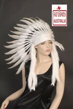 Indian Feather Headdress pure white War Bonnet....cool as....free freight too