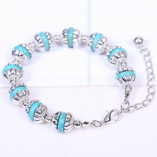 New Women's Fashion Jewelry Silver Plated Turquoise Bead Bracelet 29-7