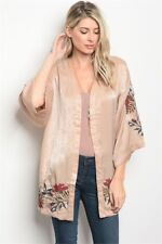 Love Riche Size Small Taupe 3/4 Sleeve Satin Kimono w/ Floral Embroidery