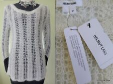 NWT($275) HELMUT LANG  Size P Lace loose knit PLUSH WOOL Sweater in Winter White