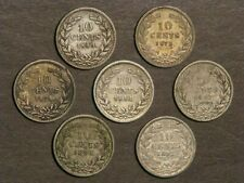 NETHERLANDS 1849-1873-1878-1881-1887-1890-1892 10 Cents Silver F-VF - 7 Coins