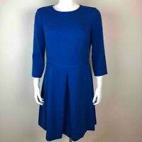 Eliza J Womens Fit & Flare Dress Blue Pleated 3/4 Sleeves Crew Neck Stretch 12