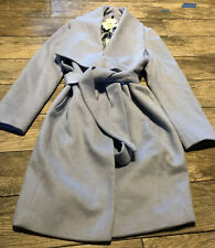 New Cole Haan Signature Women's Belted Asymmetrical Wool Coat Light Blue Sz 14