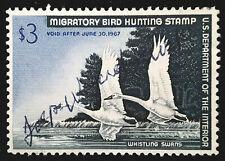 US Duck Stamp 1966 $3 Whistling Swans Scott # RW33 Used