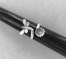 Mexican 925 Silver Taxco Double Dragon Fly Fairy Flower Adjustable Ring Size 7
