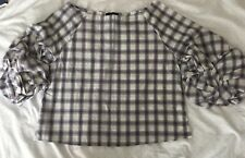 New Look Size 16 Soft Cotton Check, Balloon Sleeve Top ❤️NEW WITH TAGS
