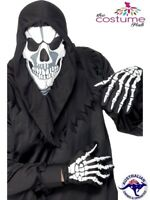 Skeleton Grim Reaper Skull Halloween Instant Horror Costume Kit Hood Gloves