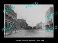 OLD LARGE HISTORIC PHOTO OF CLYDE OHIO VIEW OF THE MAIN STREET & STORES c1900 1