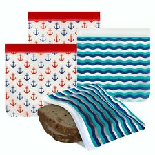 Ziparoos Reusable 4-Piece Sandwich Lunch Bags with Ziplock Tops- Anchors, Waves