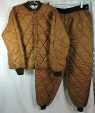 Vtg Quilted Thermal Hunting Pants Jacket Base Layer 2-Piece Set Large Brown Nice