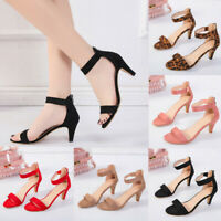 Ladies Women Fish Mouth Zipper Sandals Ankle High Heels Party Toe Shoes Size