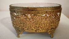 Vintage Gold Plated Jewelry Casket Stylebuilt Accessories Beveled Glass Top