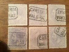 6 Sellos España Alfonso XII 25 c.  1879 Matasellos  Carteria Malgrat Edifil 204