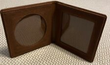 Vintage Folding HELZBERG DIAMONDS Leather Photo Picture Frame Wallet Brown!!!!!