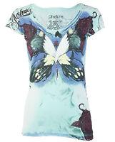 Archaic AFFLICTION Womens T-Shirt GOOD BYE Butterfly Biker Sinful Vocal $40