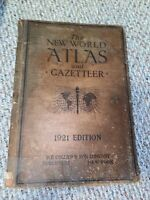 The New World Atlas and Gazetteer 1921 Edition  Vintage Book Maps