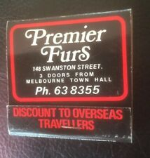 Vintage Retro Advertising Matchbook 'Premier Furs' Melbourne Aust. Free Au Post