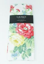 """Kitchen Towels set of 2 dish hand 17x28"""" Ralph Lauren Coral Green Yellow Floral"""