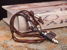 Biker Surfer Beach Vintage Leather Choker Necklace Cool Bullet Pendant Brown