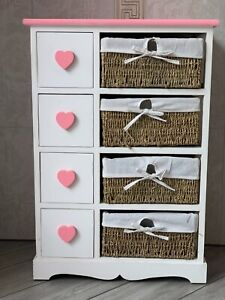 Home Delights Pink Hearts Girls Chest Of Drawers Wicker Baskets Storage Bedroom