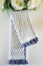 "Opalhouse Luxury Hand Towel 27"" x 16"" Small Stripes With Fringe Blue/White"